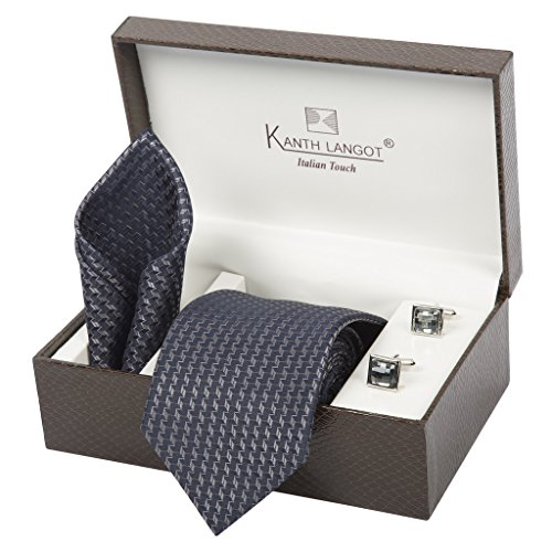 Kanthlangot Jacquard Tie Pocket Square And Cufflinks Set
