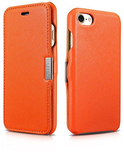 Custodia Mobiskin per Apple iPhone 8 e iPhone 7 (4,7 pollici) / Case con rivestimento esterno in vera pelle / Custodia protettiva con supporto apribile lateralmente / Astuccio per telefono / Cover ult Arancio