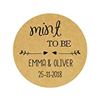 eKunSTreet ® 48x PERSONALISED Kraft Brown 40mm Round Wedding Favour Stickers,Mint to be Stickers, Invitation Envelopes Seals,Sweet Bag Labels, Shabby chic Wedding Craft Embellishment