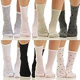 8er Pack Damen Sneaker Socken für Sport und Yoga Strümpfe mit Punkte/Streifen BF 702 (35-38, Punkte)