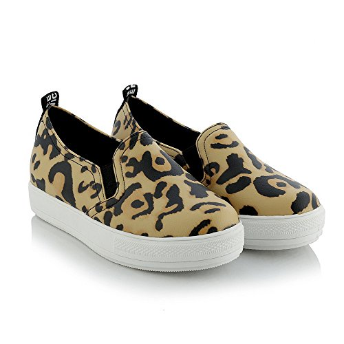 AllhqFashion Damen Ziehen Auf Pu Niedriger Absatz Gemischte Farbe Pumps Schuhe Gelb