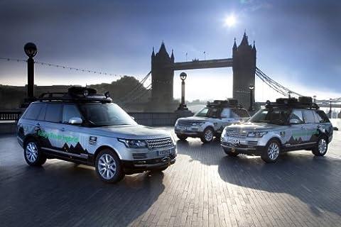 Classique et muscle car ADS et Art de voiture Land Rover Range Rover (L405) SD hybride V6Prototype (2013) voiture Art Poster imprimé sur papier d'archives en satin Bleu 10mm avant Trio de Vue, Papier, Blue Front Trio View, 36