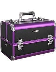 SONGMICS Kosmetikkoffer groß profi schminkkoffer für reise multikoffer mit Spiegel und organiser Schublade Aluminium xxl JBC221B