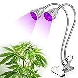 Doble cabeza LED para cultivo planta de luz, 10W luz Clip lámpara de escritorio con 360Degree Flexible cuello de cisne y doble interruptor ON/OFF para invernadero plantas de interior oficina