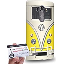 Case88 [LG G4] 3D impresa Carcasa/Funda dura para & Tarjeta de garantía - Art Fashion Yellow Retro Bus Mini Van 1205