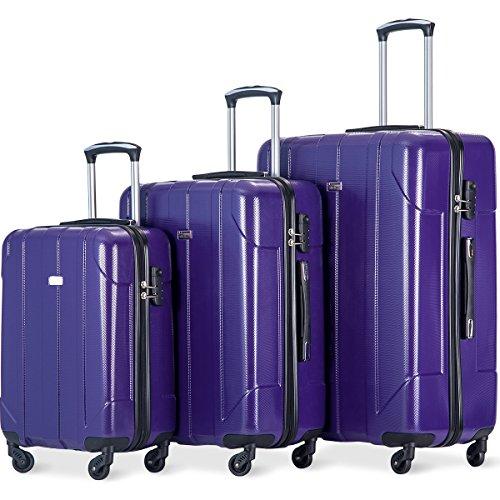 3tlg. Trolleyset Leichtgewicht Hartschalen Flieks Gepäckset 4 Doppel-Rollen PET Kofferset Reisekofferset mit Zahlenschloss, XL-L-M, (Lila)