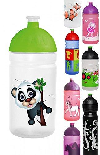 Original ISYbe Marken-Trink-Flasche für Klein-Kinder, 500 ml, BPA-frei, Pandabär-Motiv für Mädchen & Jungen, für Schule-Reisen-Kita-Kiga-Outdoor, Auslaufsicher auch mit Sprudel, Spülmaschine-fest