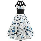 Vintage Sommerkleid Frauen SUNNSEAN Damen Drucken Gürtel Großes Pendel Kleid Hepburn Halterkleid Elegante Kleider Lässig Ärmellos Kleider Strandkleider (S, Blau 1)