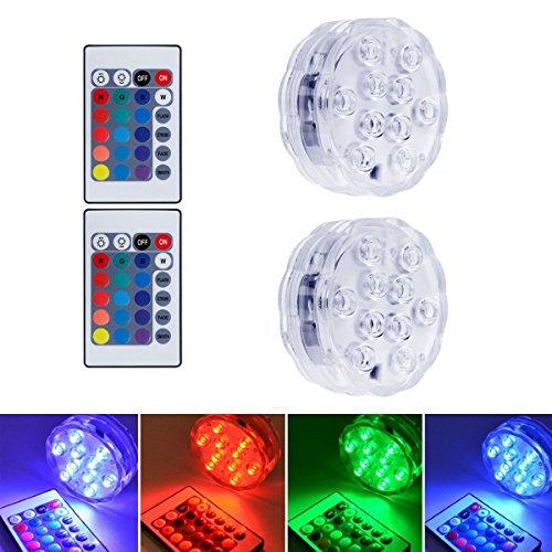 cht mit Fernbedienung,Multi Farbwechsel Wasserdichte LED Leuchten für Vase Base Aquarium Teich Halloween Party Weihnachten, 10 LEDS,[Energieklasse A++], 2er-Pack ()