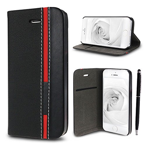 Etui iPhone 5 / 5S / SE, SpiritSun Bookstyle Etui Housse de Protection en Cuir avec Bicolore Motif pour iPhone 5 / 5S / SE (4.0 pouces) Élégant PU Leather Housse + Dur PC Etui Coque Téléphone Folio Po Noir + Noir Marine