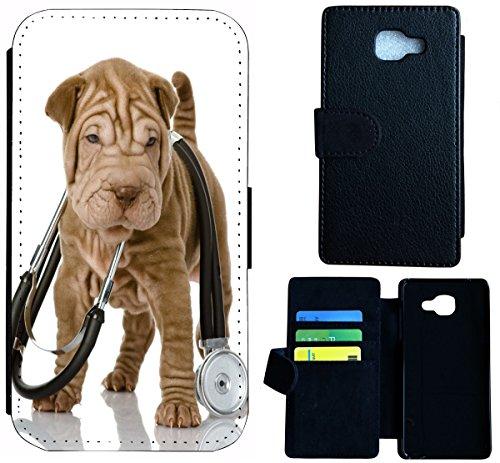 Flip Cover Schutz Hülle Handy Tasche Etui Case für (Apple iPhone 5 / 5s, 1532 Katze Kätzchen Katzenbaby Weiß Schwarz) 1530 Hund Welpe Süß Shrpei
