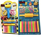 #10: SLYTEK (Combo Pack) Set of 24 Stick Modelling Clay with Small Velan, Rollar, 8 Moulds and a cutter for for Kids/Teens Children - non-toxic