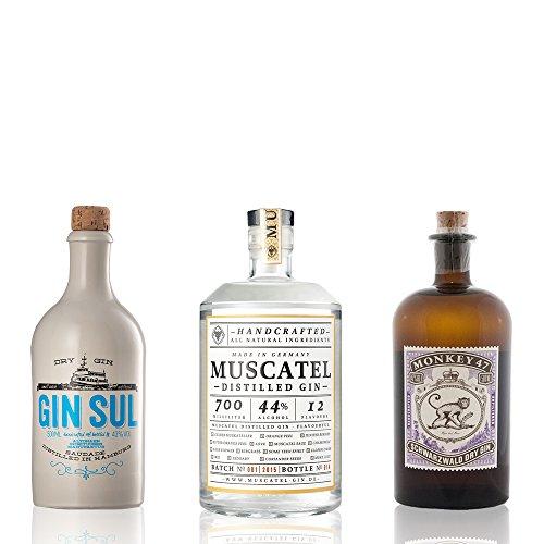 GIN Probierset GIN-TRIO | 3 x exzellenter Gin aus deutschen Landen | Monkey 47, Gin Sul und Muscatel Distilled