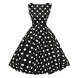 UFACE 50s Retro Vintage Rockabilly Kleid Partykleider Cocktailkleider (Punkt Schwarz, L)