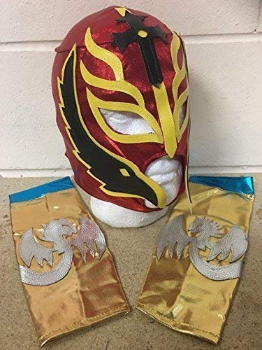Rey Mysterio Kinder - Silber - Reißverschluss Maske & Arm Ärmel Armbinden Brand Neu - WWE Wrestling Kostüm verkleiden Outfit Halloween