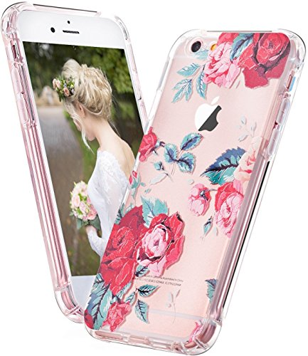 Coque iPhone 7, LUOLNH Absorption des chocs TPU Bumper Protection Goutte ,Résistant aux rayures pour Apple iPhone 7 Silicone Étui Housse Protecteur -Multicolor ananas Rose rouge