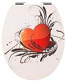 Cornat WC-Sitz Metal Plate HEART / Toilettensitz / Toilettendeckel / Klodeckel / WC-Deckel / Absenkautomatik / Holzkern (MDF) / KSDSC705