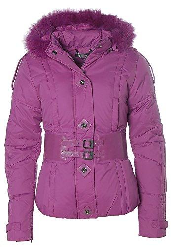 Piumino da donna PHARD giacca invernale pelliccia sintetica cappuccio fucsia M