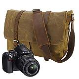 Y-DOUBLE Borsa di tela impermeabile a tracolla grande per fotocamera e accessori for Sony Nikon Olympus Canon EOS