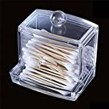 AST Works 1x Clear Acrylic Cotton Swab Organizer Cosmetic Holder Q-tip Makeup Storage Case
