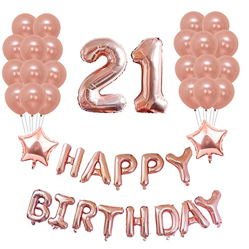(Yoart 21. Geburtstag Dekorationen Rose Gold Birthday Party Dekorationen Sets Alles Gute zum Geburtstag Banner, 20 Stück Latex Party Ballons Birthday Party Supplies Dekor für sie)