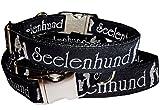 Halsband Seelenhund Hundehalsband schwarz-silber exklusiv Nylon Halsung Band für Hunde 38 - 54 cm x 2,5 cm