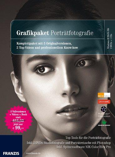 Grafikpaket Porträtfotografie, 2 DVD-ROMs + 1 CD-ROM Komplettpaket mit 5 Originalversionen, 2 Top-Videos und professionellem Know-How. Top-Tools für die Porträtfotografie. Inkl. 2 DVDs Studiofotogrfie und Porträtretusche mit Photoshop. Inkl. Spitzensoftwar