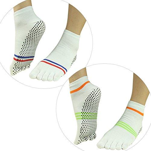 3d29b842e Five Finger Crew Socks,J'colour Non Slip Grip Yoga Pilates Barre Hospital Ankle  Sport Athletic Toe Socks For Women 2 Pairs,White - Buy Online in Oman.