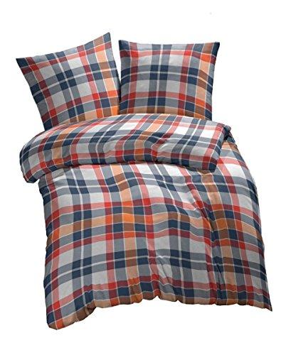 Etérea 3 tlg. Renforcé Bettwäsche Kari Kariert - 100% Baumwolle Bettbezug - 220x240 cm + 2 * 80x80 cm, Orange Weiss