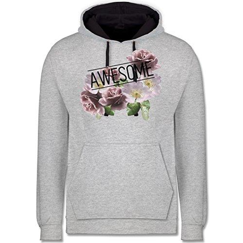 Statement Shirts - Awesome Blumen - Kontrast Hoodie Grau meliert/Dunkelblau