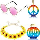 5 Piezas Juego de Accesorios de Disfraces de Hippie Arco Iris Signo de Paz Collar y...