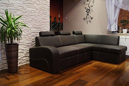 """Ecksofa \""""ANTALYA II 3z \"""" 245 x 164cm Dunkelbraun Echtleder mit Creme Ziernaht Sofa Couch mit Schlaffunktion , Bettkasten und Kopfstützen Eck Couch Echt Leder \""""Toledo Caffe\"""""""