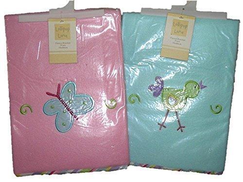 Fleece Babywagen / Wiege Decke Auswahl pink oder blau 70x90cm - Blau ()