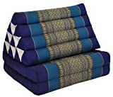 Kapok Thaikissen, Yogakissen, Massagekissen, Tantrakissen, Sitzkissen, Strandkissen, Meditationskissen - Blau (Dreieck mit zwei Auflagen 52x44x45)