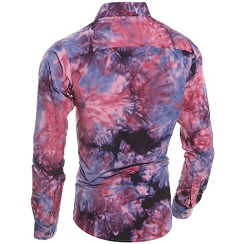 jeansian Herren Freizeit Hemden Shirt Tops Mode Langarmshirts Slim Fit Men Fashion Shirt 84A5 Red