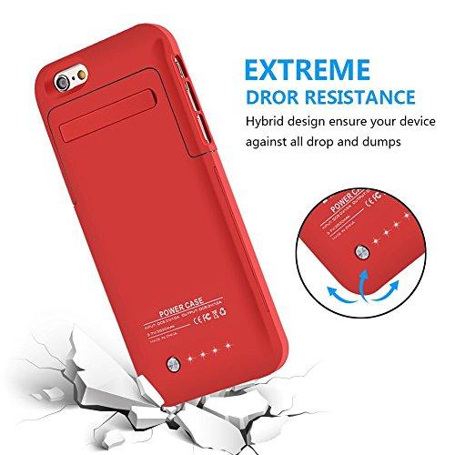 MuzeCoque batterie ultra fine 3500mAh pour iPhone 6(2014)/iPhone 6S (2015) (11,9cm) rouge