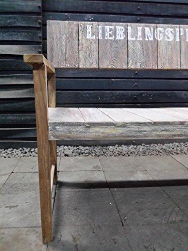 2er Bank Lieblingsplatz rustikal Teakholz Teakbank Massivholz Holzbank Gartenbank 120 cm breit Sitzbank - 6