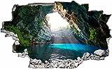DesFoli Höhle Cave 3D Look Wandtattoo 70 x 115 cm Wanddurchbruch Wandbild Sticker Aufkleber C282