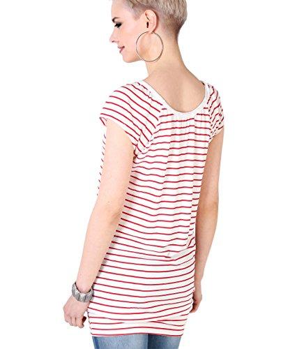 KRISP® Damen Basic Jersey Longshirt Cremeweiß/Rot (7487)