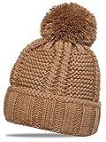 CASPAR MU127 Gefütterte Damen Bommelmütze, Farbe:schlamm;Größe:One Size