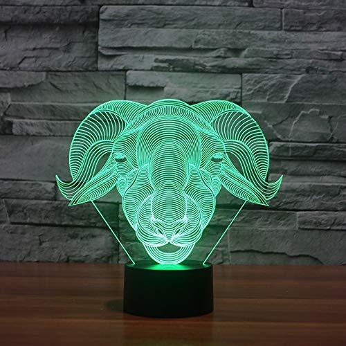e modellierung geschenk 3d - home decor vision ziege lampe usb - 7 bunte veränderung baby schlafen nachts licht ()