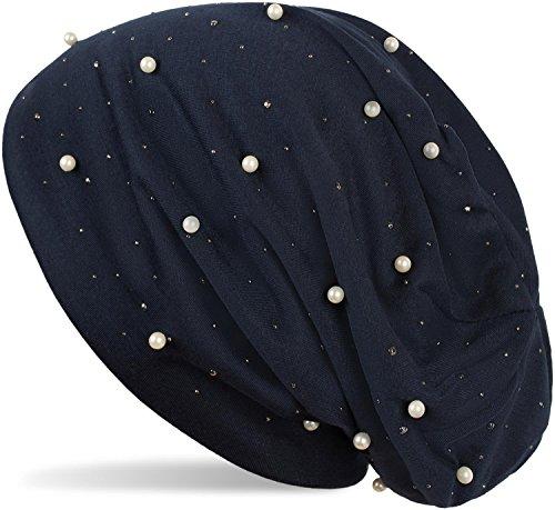 styleBREAKER Beanie Mütze mit Perlen und Strass Nieten, Slouch Longbeanie, Damen 04024140, Farbe:Midnight-Blue/Dunkelblau