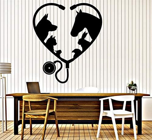 Vinyl Wand Erklärung Familie DIY Dekor Kunst Aufkleber Wohnkultur Wandkunst Tier Haustier Veterinärmedizin Stethoskop