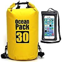 Ksnrang Estanca Impermeable Bolsa para 5L / 10L / 20L / 30L Dry Bag Bolsa Seca Mochila para Kayak, Playa, Rafting, Canotaje, Senderismo, Camping y Pesca (Amarillo, 30L)