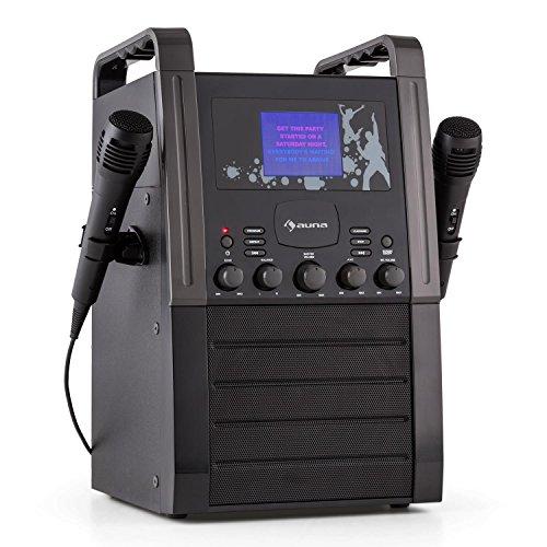 Preisvergleich Produktbild auna KA8P-V2 BK • Karaoke Anlage • Kinder Karaoke Player • Karaoke Set • 3,5 Zoll TFT-Display • 2 x dynamisches Mikrofon • integierter Lautsprecher • Video-Ausgang • CD+G-Player • CD-Player • MP3-fähig • Echo Effekt • A.V.C. Funktion • AUX-Eingang • schwarz