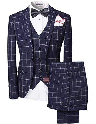 Modisch Slim Fit Schnitt Herren 5-Teilig Anzug Kariert Design in blau mit Weste + Handtuch+Fliege Hochzeit Party (X-Large, blau 1)