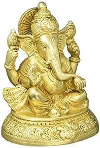 Handmade Indian Brass Religious Items Indian Decor Ganesha Statue Hindu Temple Puja 5 inch