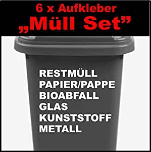 6 teiliges m lltonnen aufkleber set cm restm ll bioabfall metall papier pappe. Black Bedroom Furniture Sets. Home Design Ideas