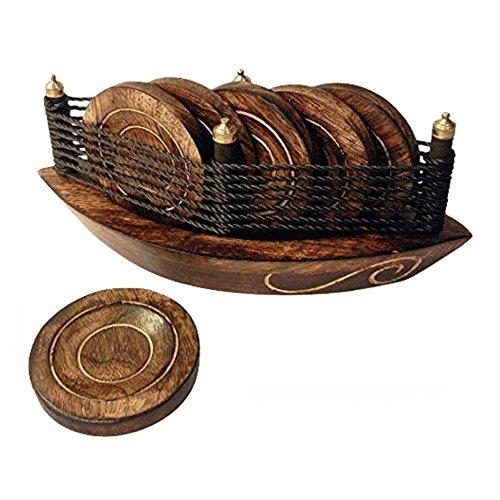 Galleria fotografica Stylla Londra fatto a mano a forma di barca sottobicchieri decorativi, legno, marrone, 8x 8x 4cm