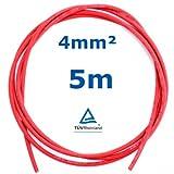 5 m Reiter-Solar SK4005 Solarkabel 4 mm - PV Verbindungs-Kabel unkonfektioniert rot oder schwarz, Farbe:Rot